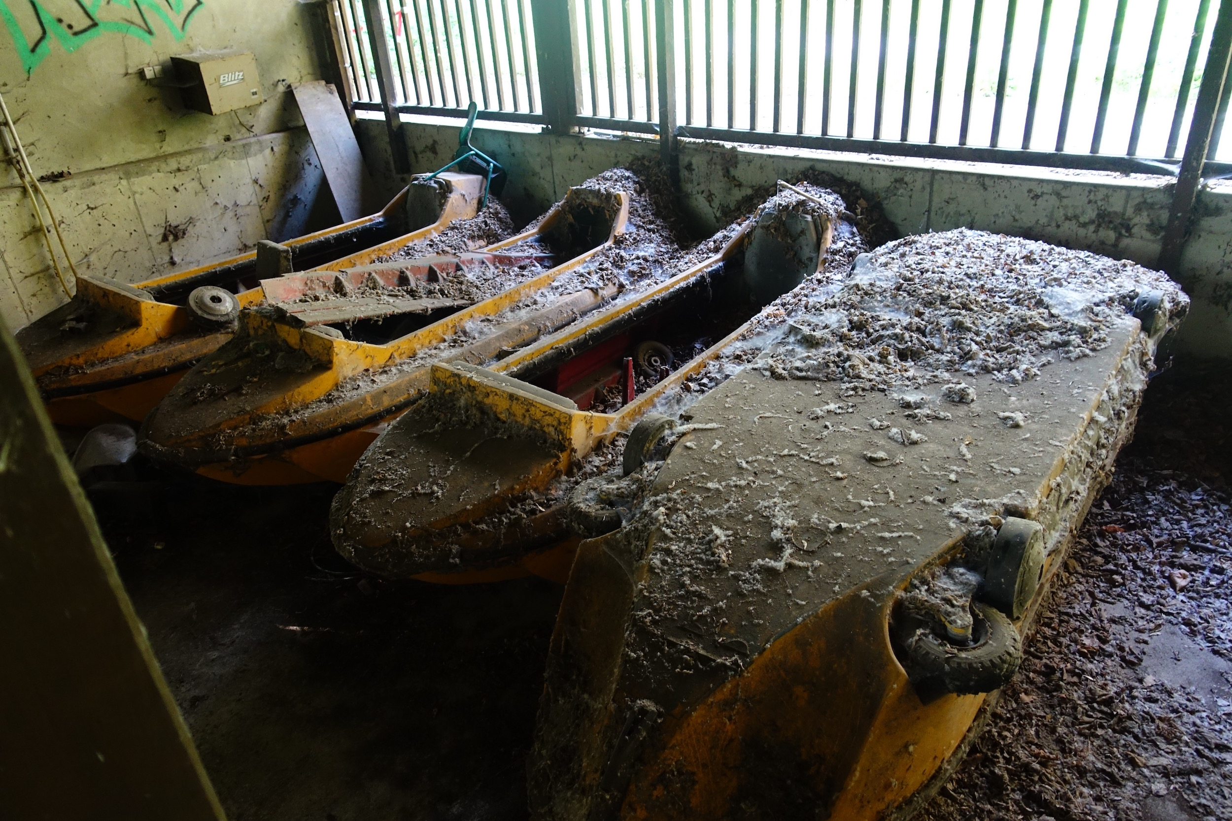The abandoned log flume cars